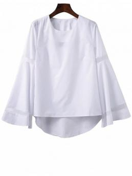 Fall Solid Full Round Fashion High Low Bell Sleeve Mesh Panel T-Shirt