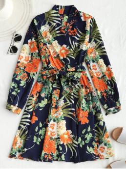 Spring and Summer Yes Floral Long V-Collar Mini Casual and Going Belted Long Sleeve Floral Mini Dress