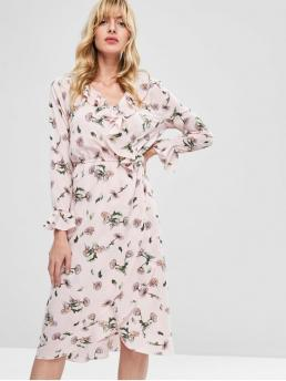 No Fall and Spring Floral Ruffles Long V-Collar Mid-Calf A-Line Day and Vacation Fashion Ruffles Overlap Floral Midi Dress