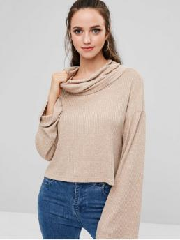 Autumn and Winter Slit Elastic Full Drop Cowl High Loose Fashion Daily and Going Pullovers High Low Slit Cowl Neck Knit Sweater