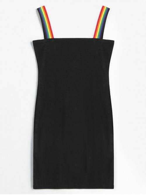 No Fall and Spring and Summer Striped Sleeveless Square Mini Bodycon Club and Cocktail Fashion Rainbow Stripe Mini Bodycon Dress