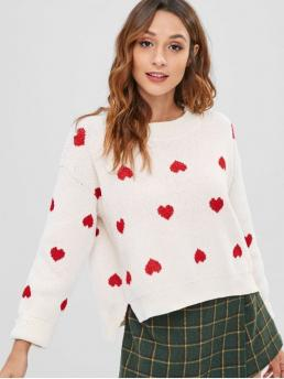 Winter Slit Heart Elastic Full Drop Round High Regular Fashion Daily and Going Pullovers Chenille Heart Graphic Slit Sweater