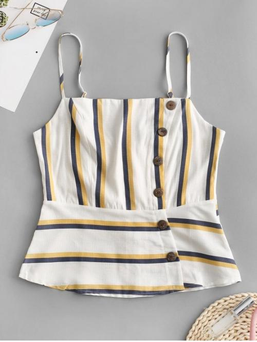 Summer Standard Button and Zippers Striped Spaghetti Regular Casual Smocked Back Buttons Striped Cami Top