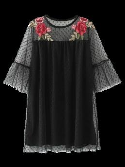 Fall and Spring No Floral Embroidery 3/4 Round Mini Casual  Embroidered See-Through Tunic Dress