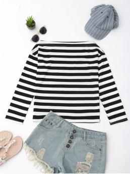 Striped Full Off Casual Off The Shoulder Striped Drop Shoulder Tee