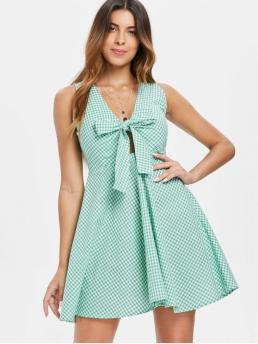No Summer Gingham Sleeveless V-Collar Mini A-Line Day Fashion Tie Front Gingham Mini Dress