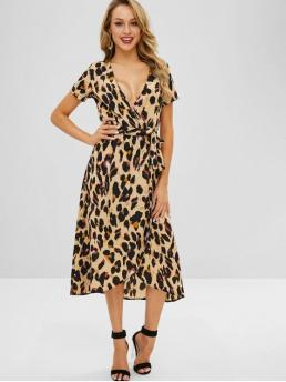 Fall and Spring and Summer No Leopard Short V-Collar Mid-Calf Leopard Print Crossover Midi Dress