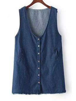 Summer No Solid Button Sleeveless V-Collar Mini Straight Denim Casual Pure Color Sleeveless Denim Dress