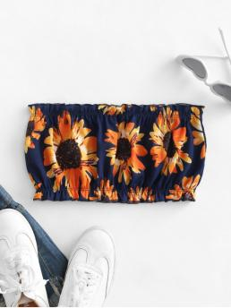 Shopping Polyester Sunflower Midnight Blue Cute Bandeau Top