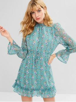 Fall No Floral Ruffles Long Mini Ruffled A-Line Casual and Going Casual Bell Sleeves Ruffles Floral Dress