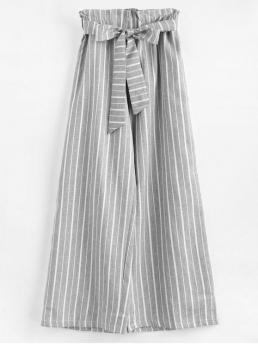 Fall and Spring Yes Elastic Wide Striped Pockets Loose High Fashion Ninth Wide Leg Stripes Pants