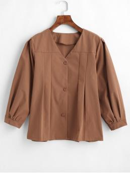 Spring Pleated Solid Full Regular V-Collar Fashion Daily Button Up V Neck Pleated Blouse