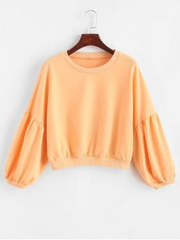 Autumn and Spring Solid Nonelastic Full Short Drop Round Sweatshirt Drop Shoulder Plain Lantern Sleeve Sweatshirt