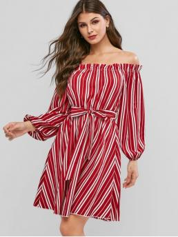 Yes Fall and Spring Striped Long Off Knee-Length A-Line Casual and Day Fashion Striped Off Shoulder Belted Long Sleeve Dress