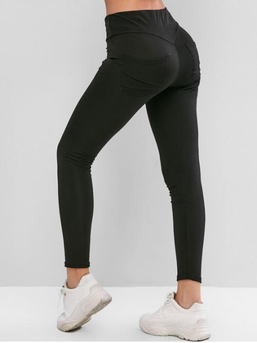 Fall and Spring 7/8 Pockets Solid High Running and Sports and Yoga Active Back Pocket High Waisted Ninth Leggings