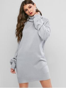 No Fall and Winter Solid Long Lantern Turtlecollar Mini Straight Day Casual Turtleneck Drop Shoulder Mini Sweater Dress