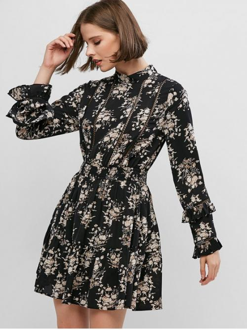 No Fall and Spring Floral Long Mock Mini A-Line Casual and Vacation Casual Floral Print Crotchet Trim Long Sleeve Mini Dress