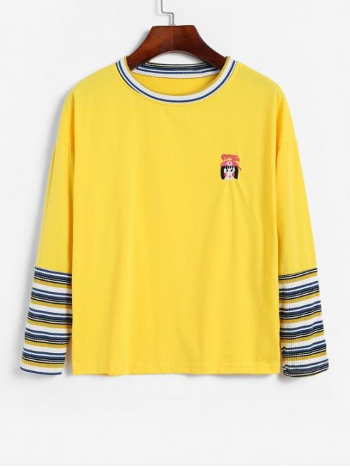 Autumn and Spring Cartoon and Striped Embroidery Elastic Full Drop Round Regular Fashion Ribbed Stripes Panel Cartoon Embroidered Tee