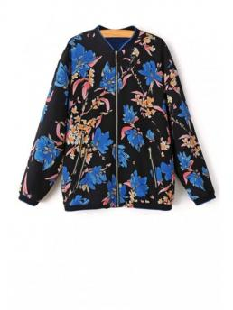 Pattern Floral Stand-Up Full Wide-waisted Fashion Jackets Floral Print Zippered Baseball Jacket