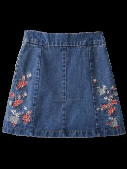 Embroidery Floral A-Line Mini Denim Zippered Floral Denim Skirt