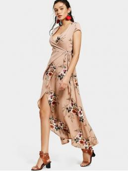No Summer Floral Short Plunging Ankle-Length A-Line Casual and Vacation Casual Floral Asymmetrical Wrap Maxi Dress