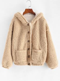 Cheap Full Sleeve Wide-waisted Polyester Others Double Pockets Reversible Fluffy Coat