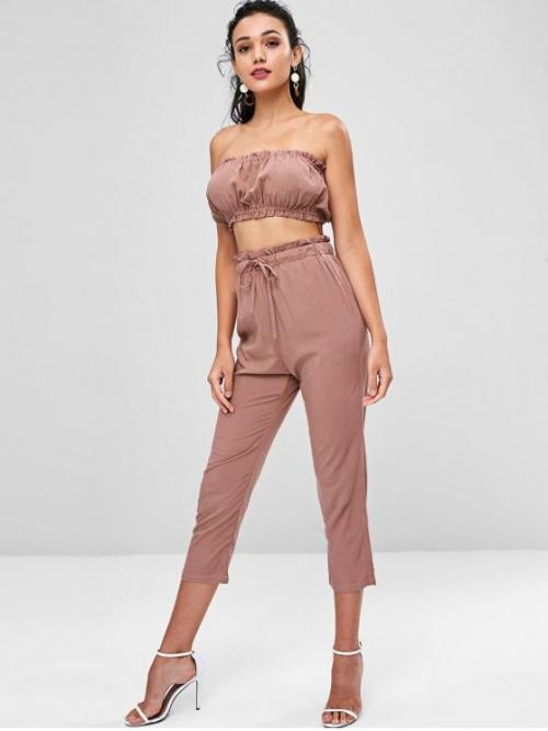 Fall and Spring Solid Pleated Elastic High Sleeveless Strapless Regular Fashion Casual and Daily and Going Bandeau Top and Joggers Pants Co Ord Set