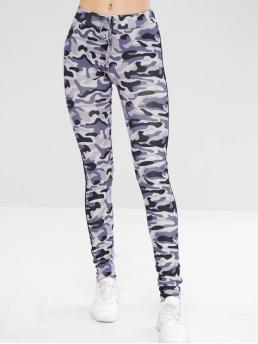 Fall Camo Mid Going Casual Side Striped Camouflage Drawstring Leggings