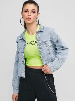 Nonelastic Autumn and Spring Front Others Single Turn-down Drop Full Short Wide-waisted Denim Fashion Jackets Daily Ripped Light Wash Cropped Denim Jacket