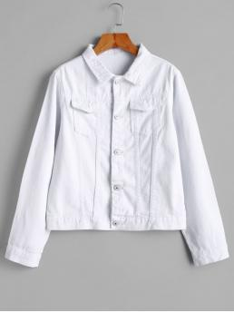 No Nonelastic Autumn and Spring and Winter Pockets Solid Single Shirt Full Regular Wide-waisted Fashion Jackets Daily Flap Pockets Button Front Denim Jacket