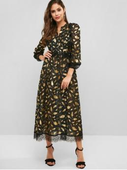 No Fall and Spring Nonelastic Leaf Lace Long V-Collar Ankle-Length A-Line Day Fashion Lace Panel Metallic Leaves Print Maxi Dress