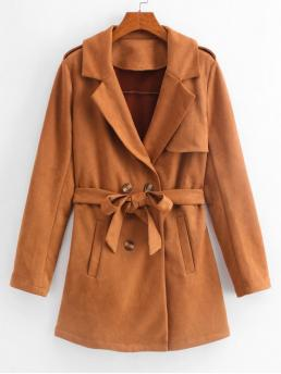 Autumn Yes Nonelastic Sashes Solid Double Lapel Full Long Wide-waisted Daily and Work Streetwear Suede Belted Coat