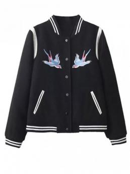 Fall and Spring Pockets Floral Stand-Up Full Wide-waisted Wool Fashion Snap Button Embroidered Baseball Jacket