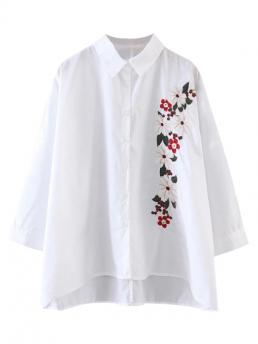 Floral Full Regular Shirt Fashion High Low Floral Embroidered Shirt