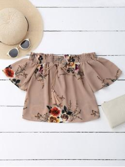 Summer Floral Short Short Off Casual Casual Off Shoulder Floral Cropped Blouse