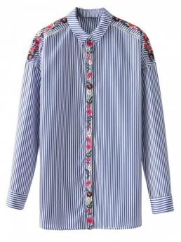 Autumn and Spring Embroidery Striped Full Regular Shirt Fashion Casual Floral Embroidered Sheer Striped Shirt