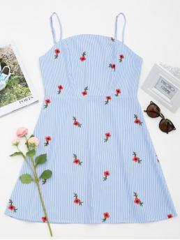 Summer No Floral and Striped Patch Sleeveless Spaghetti Mini Floral Patched Striped Cami Mini Dress