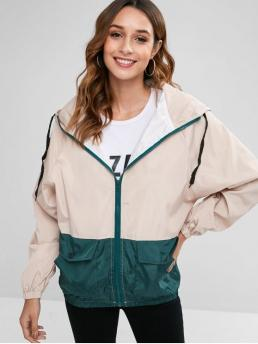 No Autumn and Winter Animal Zipper Hooded Full Regular Wide-waisted Fashion Jackets Daily and Going Hooded Two Tone Print Zip Jacket