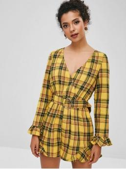 Fall Yes Ruffles Plaid Long V-Collar Loose Casual Casual  Ruffles Plaid Belted Wide Leg Romper