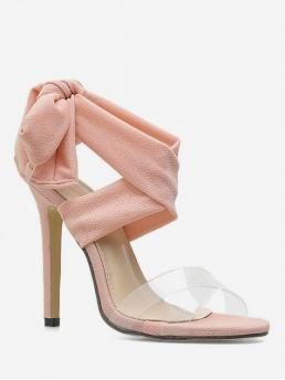 Summer Satin 11CM Rubber Bowknot Lace-Up Stiletto Ankle-Wrap Daily Fashion For Lace Bow High Heel Sandals