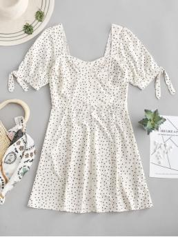 No Summer Nonelastic Polka Short Sweetheart Mini A-Line Day Fashion Knotted Dots Smocked Back Mini Dress