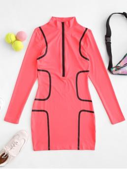 No Fall and Summer Elastic Others Zippers Long Mock Mini Bodycon Casual and Day Fashion Neon Half Zip Bodycon Mini Dress