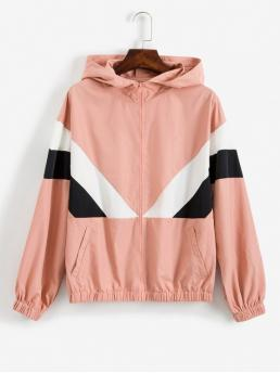 Autumn Zippers Color Hooded Full Regular Wide-waisted Casual Jackets Daily and Outdoor Colorblock Zip Hooded Jacket