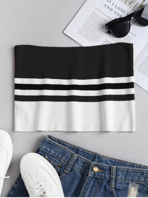 Standard Striped Strapless Short Cute Knit Striped Bandeau Tube Crop Top