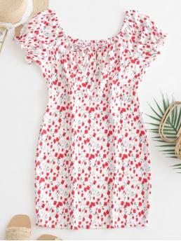 No Summer Floral Short Scoop Mini Sheath Casual and Vacation Casual Scoop Neck Tiny Floral Sheath Dress