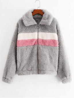 Autumn Nonelastic Patchwork Zipper Hooded Full Regular Wide-waisted Fur Daily Fashion Fuzzy Colorblock Hooded Coat