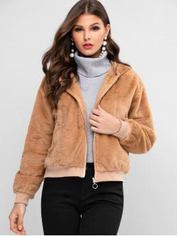Ladies Full Sleeve Wide-waisted Polyester Solid Zip up Faux Fur Coat