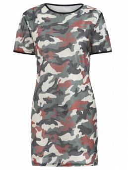 No Fall and Spring and Summer Camo Short Round Mini Tee Straight Casual Brief Camo Mesh Mini Tee Dress