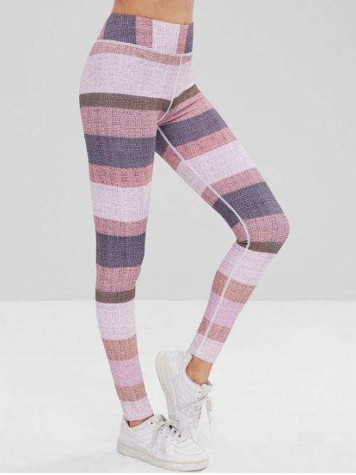 Others Elastic High Skinny Full Leggings High Waisted Color Block Leggings