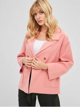Autumn and Spring and Winter No Pockets Solid Lapel Full Regular Wide-waisted Coat Daily and Going Fashion Double Breasted Lapel Wool Blend Coat
